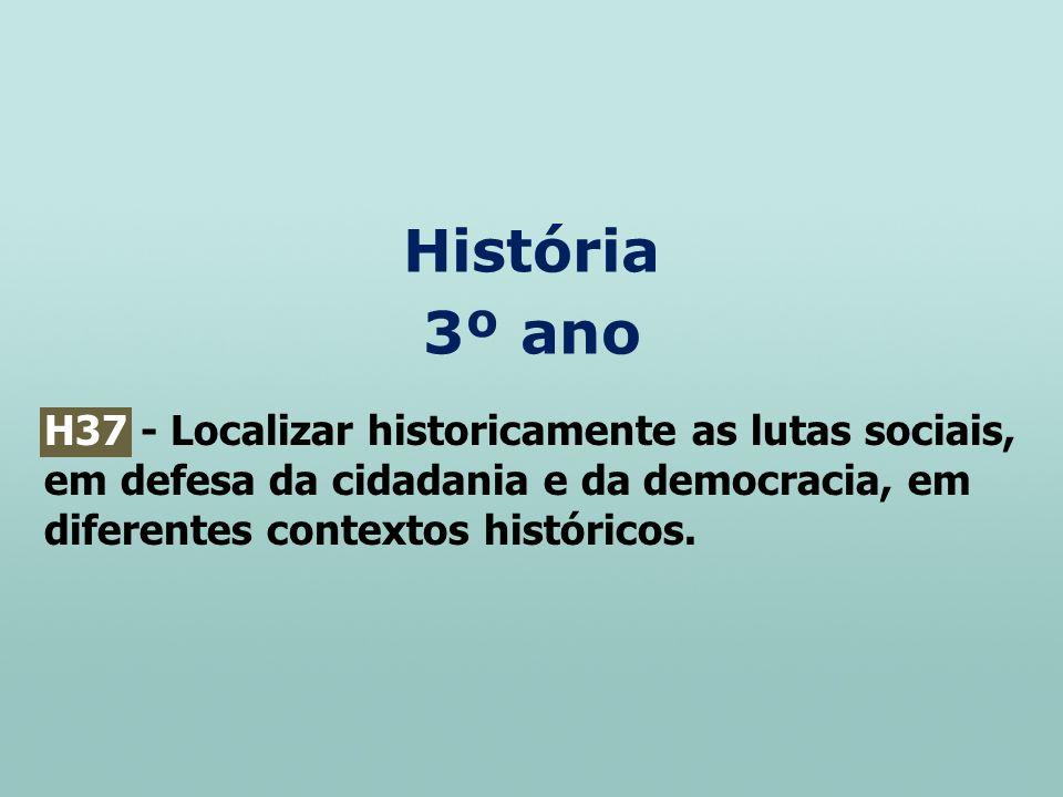 História 3º ano H37 - Localizar historicamente as lutas sociais, em defesa da cidadania e da democracia, em diferentes contextos históricos.