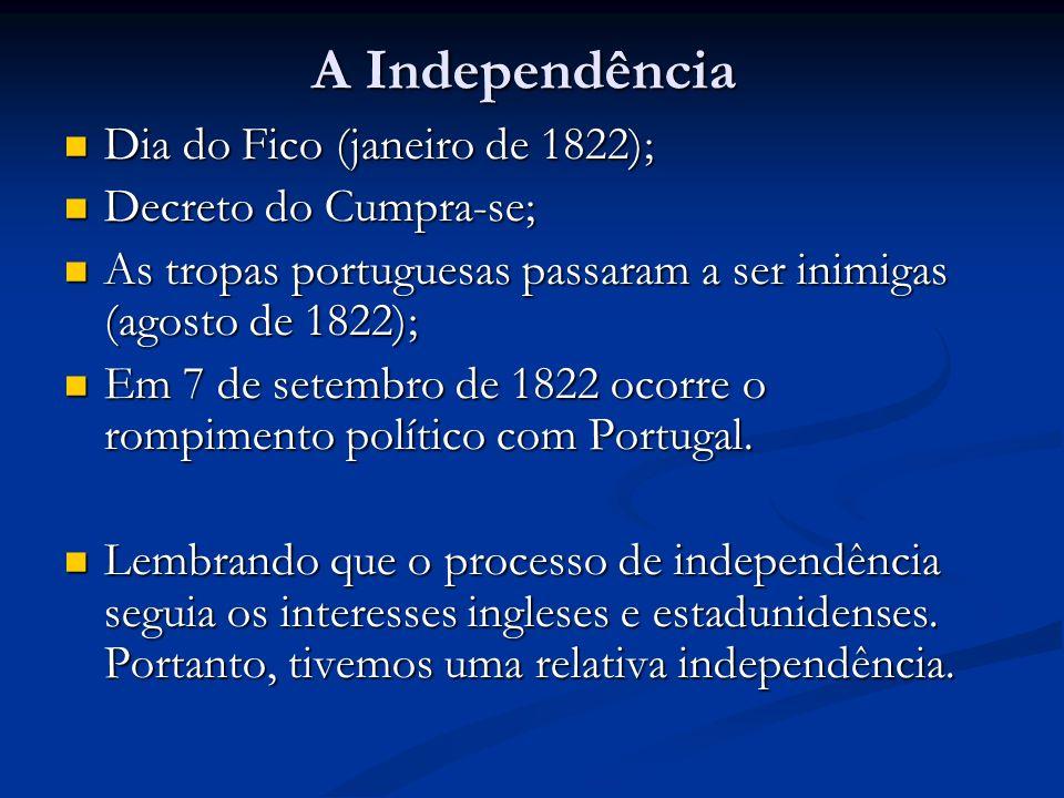 A Independência Dia do Fico (janeiro de 1822); Dia do Fico (janeiro de 1822); Decreto do Cumpra-se; Decreto do Cumpra-se; As tropas portuguesas passar