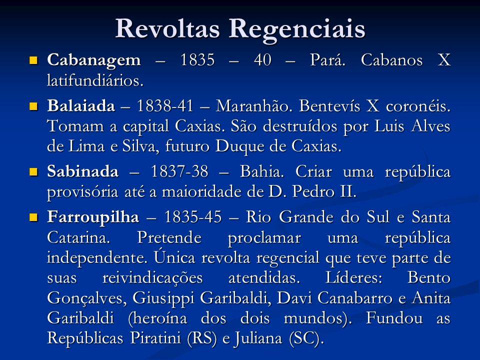 Revoltas Regenciais Cabanagem – 1835 – 40 – Pará. Cabanos X latifundiários. Cabanagem – 1835 – 40 – Pará. Cabanos X latifundiários. Balaiada – 1838-41