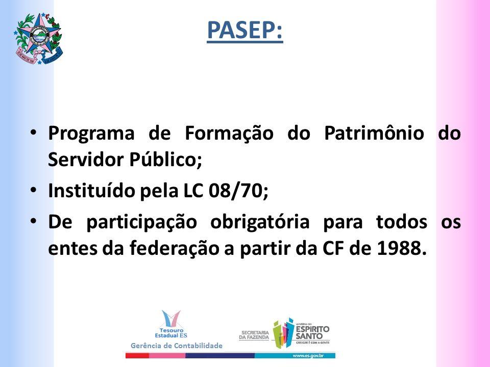 PASEP: Programa de Formação do Patrimônio do Servidor Público; Instituído pela LC 08/70; De participação obrigatória para todos os entes da federação a partir da CF de 1988.