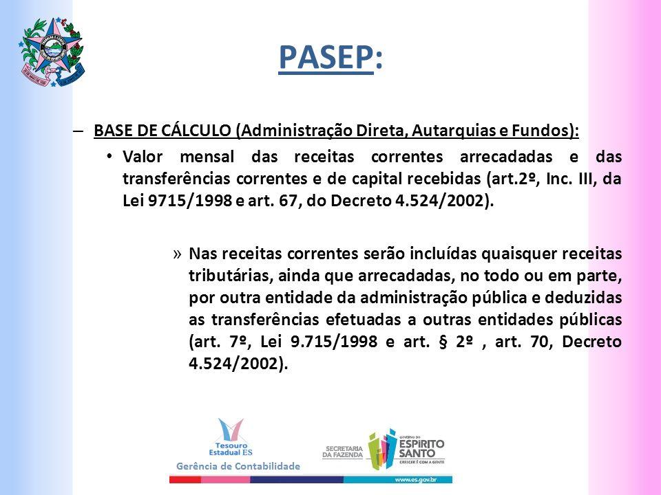 PASEP: – BASE DE CÁLCULO (Administração Direta, Autarquias e Fundos): Valor mensal das receitas correntes arrecadadas e das transferências correntes e