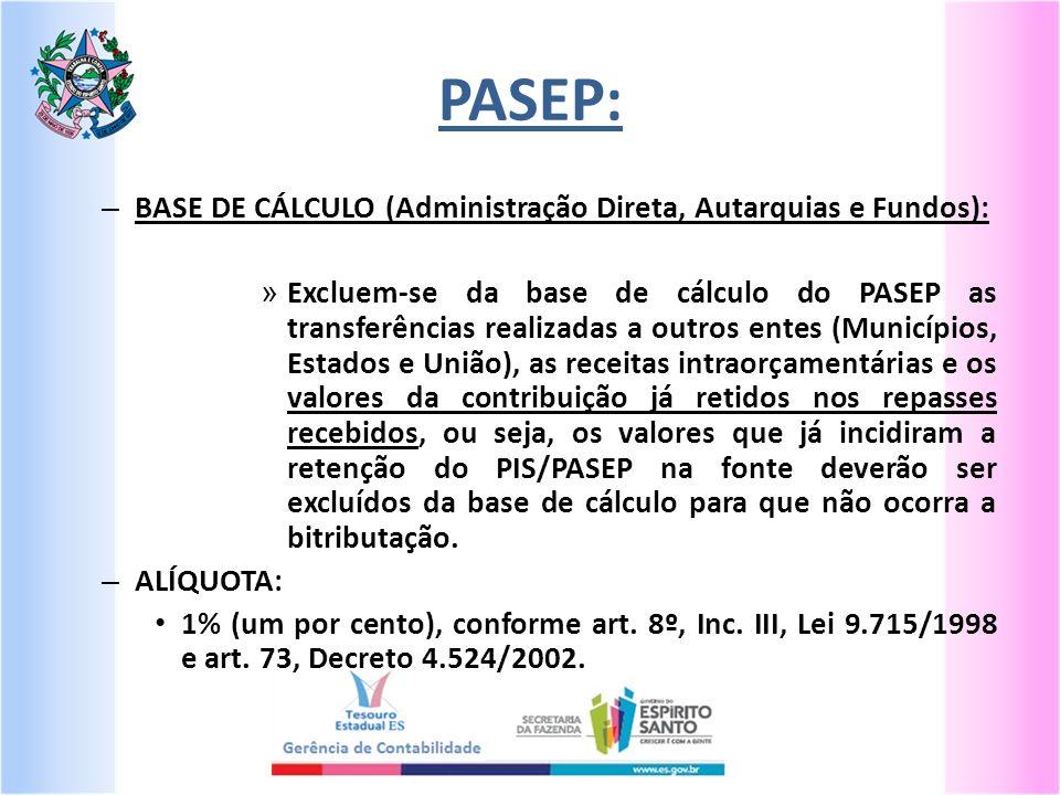 PASEP: – BASE DE CÁLCULO (Administração Direta, Autarquias e Fundos): » Excluem-se da base de cálculo do PASEP as transferências realizadas a outros e