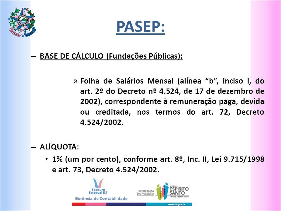 PASEP: – BASE DE CÁLCULO (Fundações Públicas): » Folha de Salários Mensal (alínea b, inciso I, do art. 2º do Decreto nº 4.524, de 17 de dezembro de 20