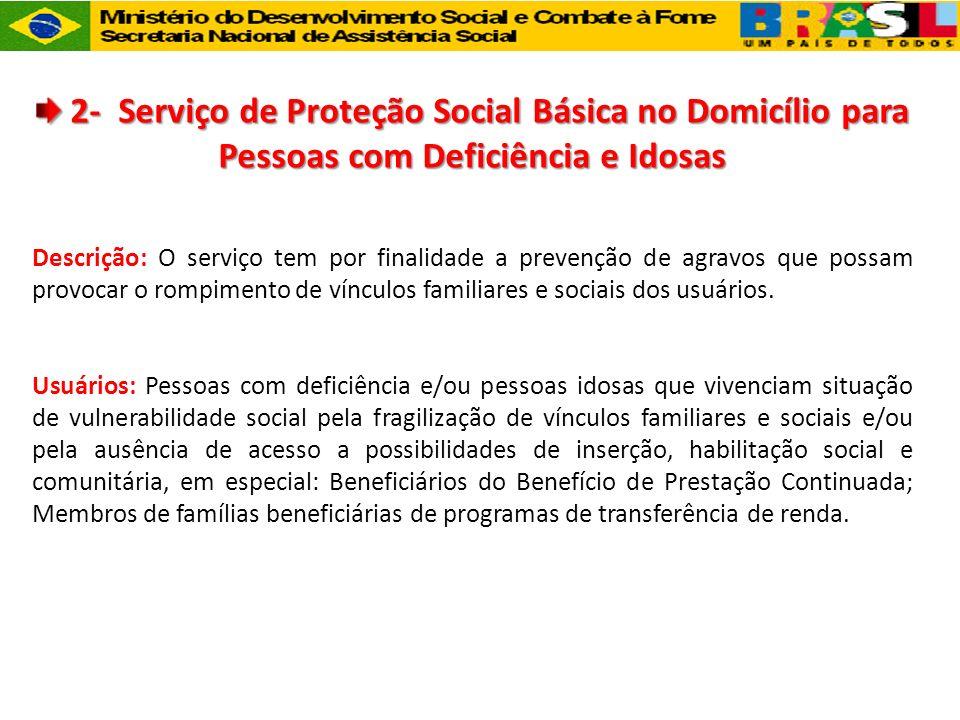 2- Serviço de Proteção Social Básica no Domicílio para Pessoas com Deficiência e Idosas 2- Serviço de Proteção Social Básica no Domicílio para Pessoas