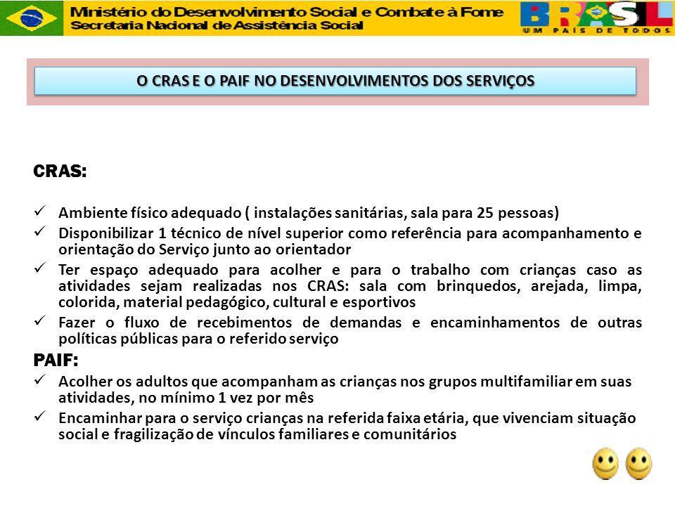 CRAS: Ambiente físico adequado ( instalações sanitárias, sala para 25 pessoas) Disponibilizar 1 técnico de nível superior como referência para acompan
