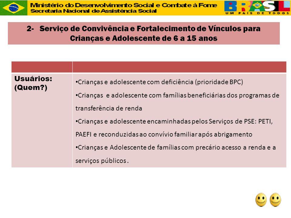 Usuários: (Quem?) Crianças e adolescente com deficiência (prioridade BPC) Crianças e adolescente com famílias beneficiárias dos programas de transferê