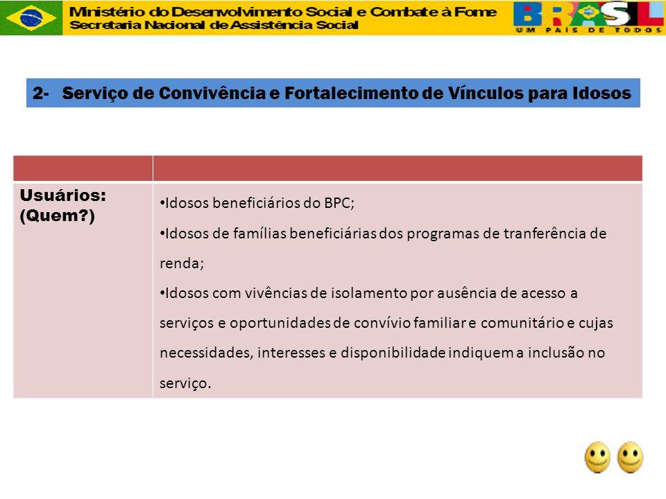 Usuários: (Quem?) Idosos beneficiários do BPC; Idosos de famílias beneficiárias dos programas de tranferência de renda; Idosos com vivências de isolam
