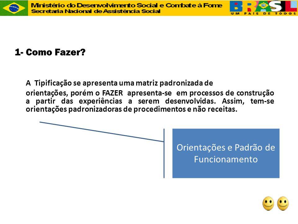 1- Como Fazer? A Tipificação se apresenta uma matriz padronizada de orientações, porém o FAZER apresenta-se em processos de construção a partir das ex