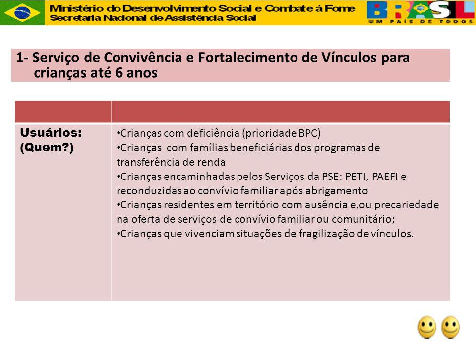 1- Serviço de Convivência e Fortalecimento de Vínculos para crianças até 6 anos Usuários: (Quem?) Crianças com deficiência (prioridade BPC) Crianças c
