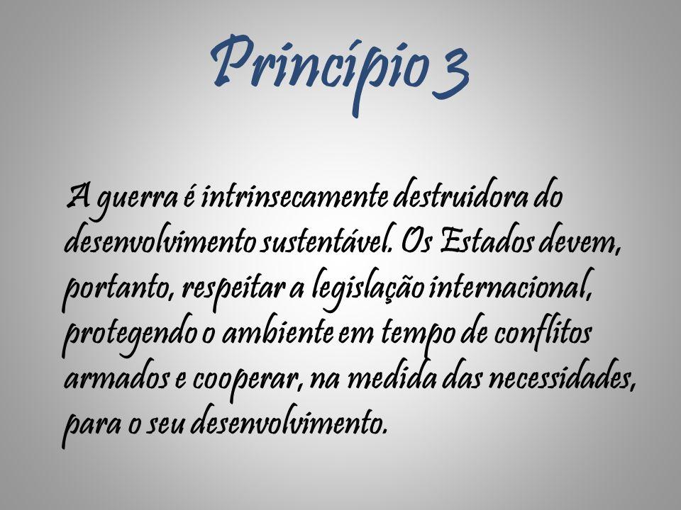 Princípio 3 A guerra é intrinsecamente destruidora do desenvolvimento sustentável. Os Estados devem, portanto, respeitar a legislação internacional, p