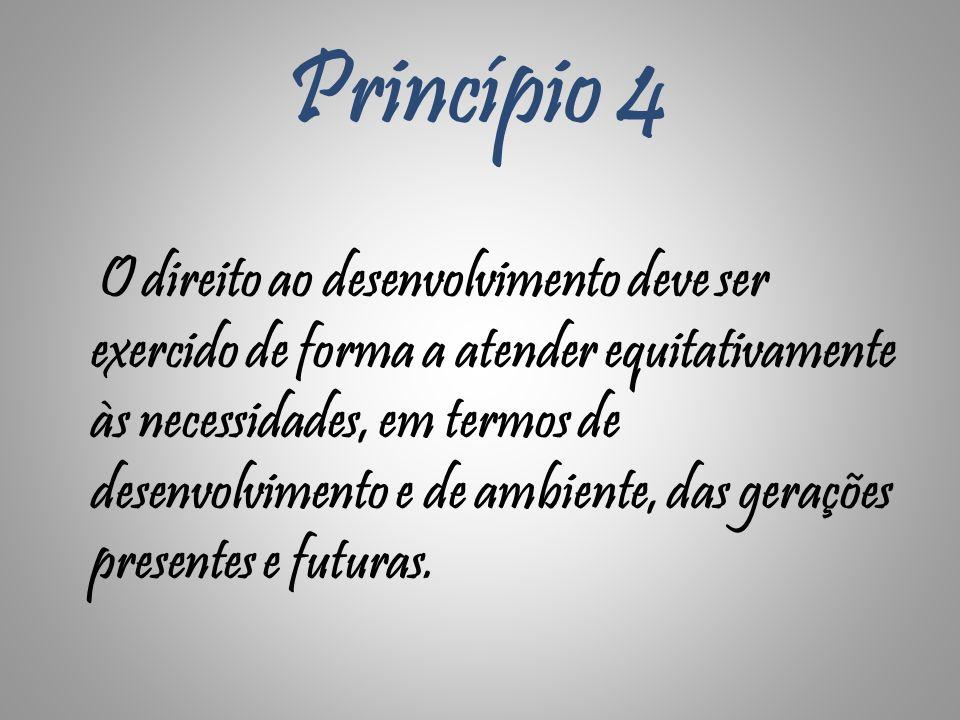 Princípio 4 O direito ao desenvolvimento deve ser exercido de forma a atender equitativamente às necessidades, em termos de desenvolvimento e de ambie