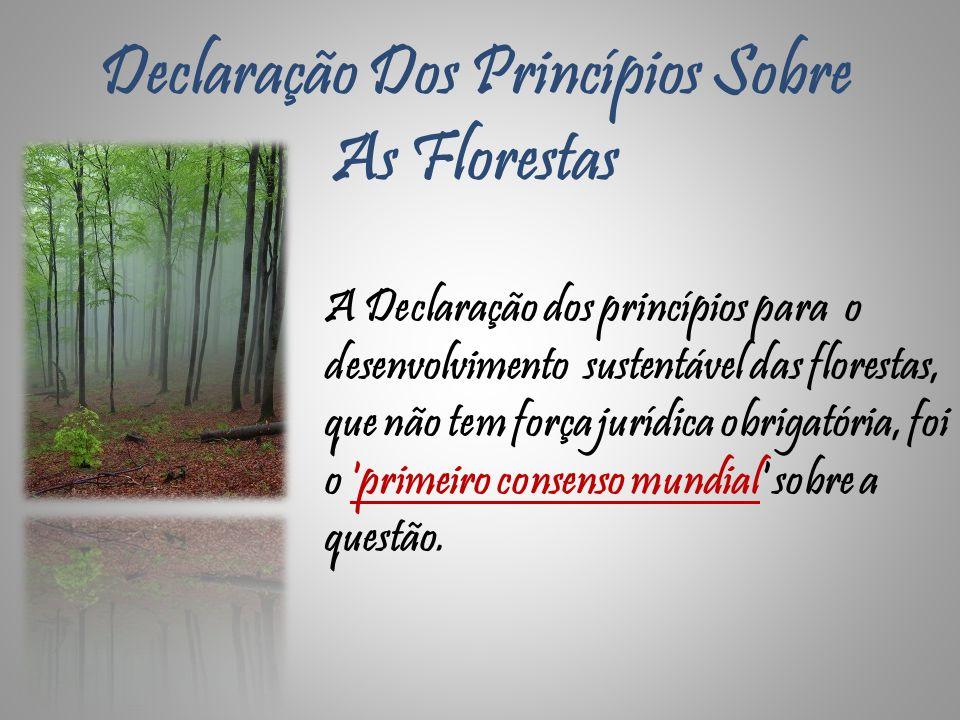 Declaração Dos Princípios Sobre As Florestas A Declaração dos princípios para o desenvolvimento sustentável das florestas, que não tem força jurídica
