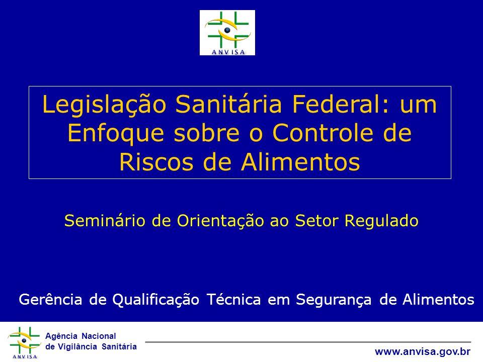 Agência Nacional de Vigilância Sanitária www.anvisa.gov.br Seminário de Orientação ao Setor Regulado Legislação Sanitária Federal: um Enfoque sobre o