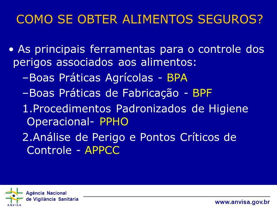 Agência Nacional de Vigilância Sanitária www.anvisa.gov.br COMO SE OBTER ALIMENTOS SEGUROS? As principais ferramentas para o controle dos perigos asso