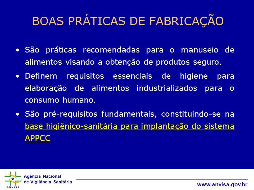 Agência Nacional de Vigilância Sanitária www.anvisa.gov.br BOAS PRÁTICAS DE FABRICAÇÃO São práticas recomendadas para o manuseio de alimentos visando