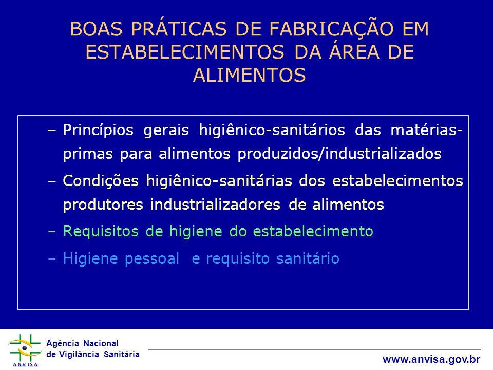 Agência Nacional de Vigilância Sanitária www.anvisa.gov.br BOAS PRÁTICAS DE FABRICAÇÃO EM ESTABELECIMENTOS DA ÁREA DE ALIMENTOS –Princípios gerais hig