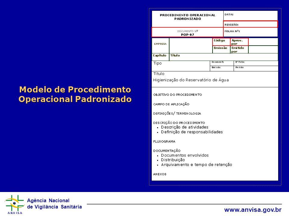 Agência Nacional de Vigilância Sanitária www.anvisa.gov.br Modelo de Procedimento Operacional Padronizado