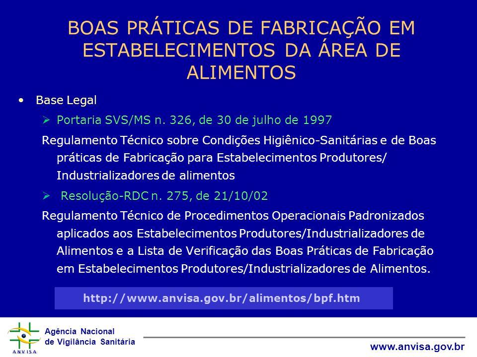 Agência Nacional de Vigilância Sanitária www.anvisa.gov.br BOAS PRÁTICAS DE FABRICAÇÃO EM ESTABELECIMENTOS DA ÁREA DE ALIMENTOS Base Legal Portaria SV