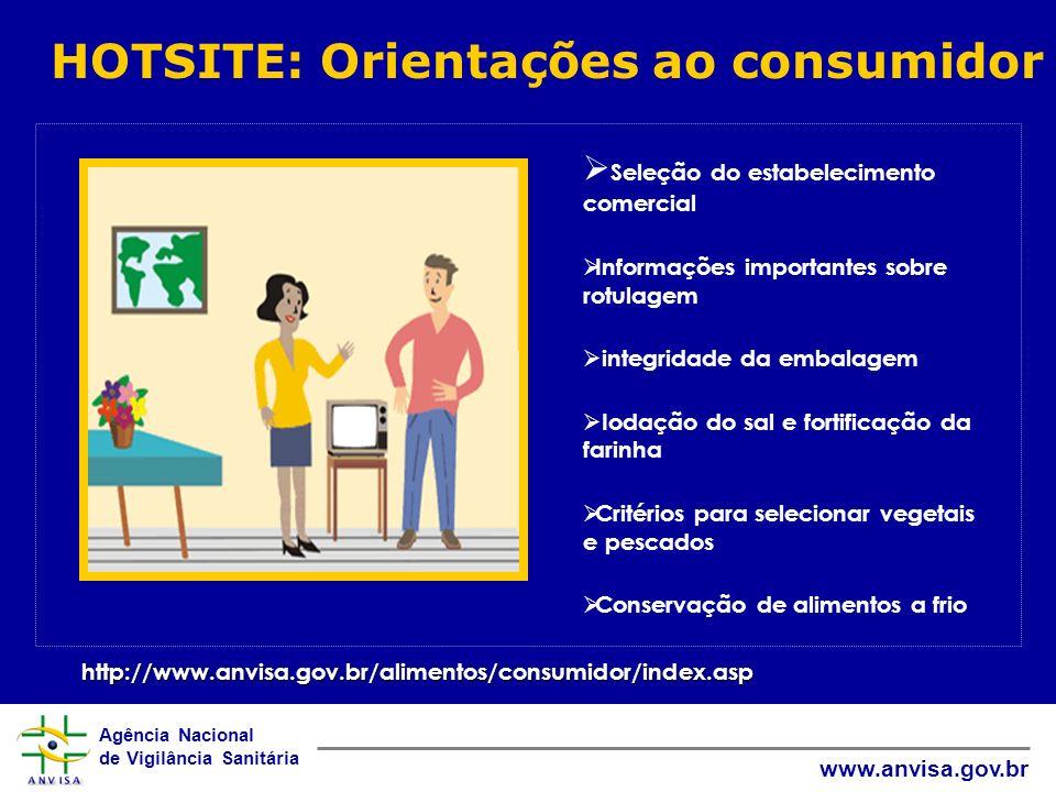 Agência Nacional de Vigilância Sanitária www.anvisa.gov.br HOTSITE: Orientações ao consumidor http://www.anvisa.gov.br/alimentos/consumidor/index.asp