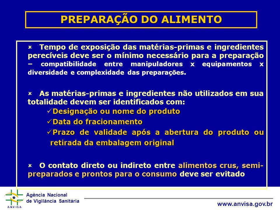 Agência Nacional de Vigilância Sanitária www.anvisa.gov.br PREPARAÇÃO DO ALIMENTO Tempo de exposição das matérias-primas e ingredientes perecíveis dev
