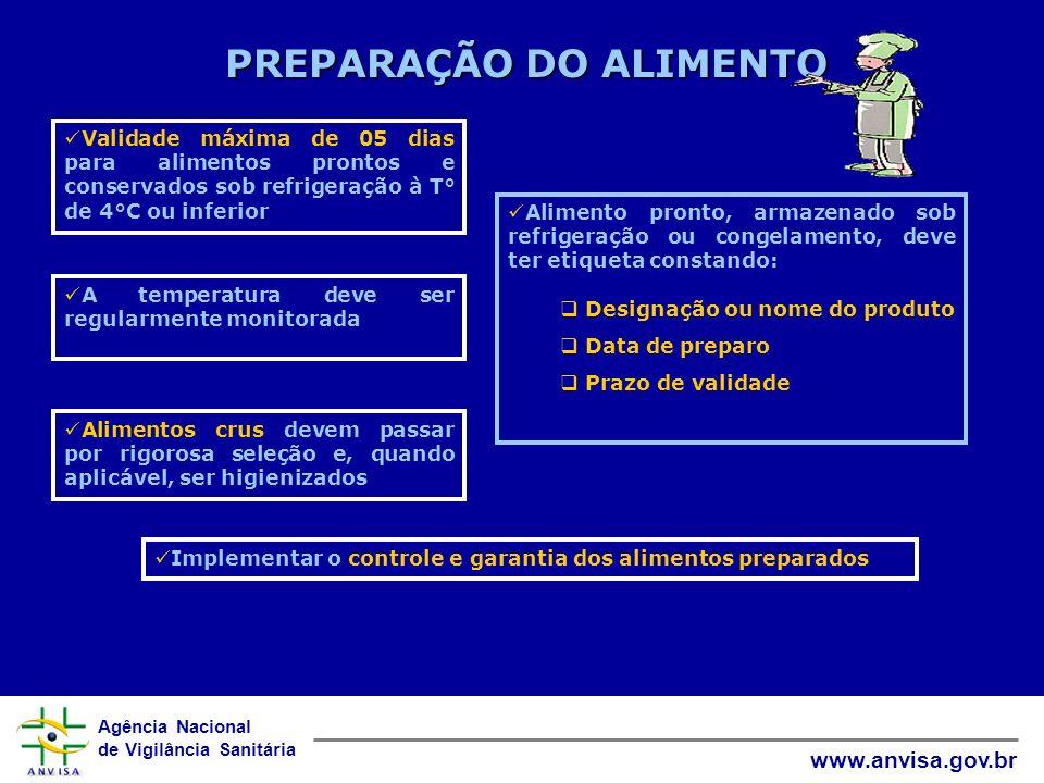 Agência Nacional de Vigilância Sanitária www.anvisa.gov.br PREPARAÇÃO DO ALIMENTO Alimento pronto, armazenado sob refrigeração ou congelamento, deve t