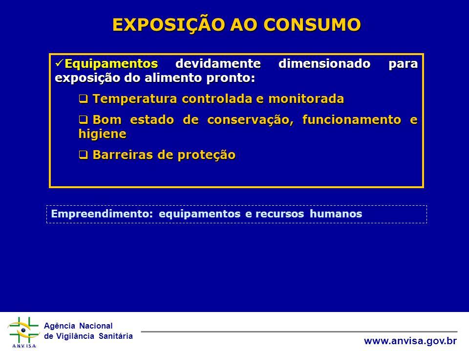 Agência Nacional de Vigilância Sanitária www.anvisa.gov.br EXPOSIÇÃO AO CONSUMO Equipamentos devidamente dimensionado para exposição do alimento pront