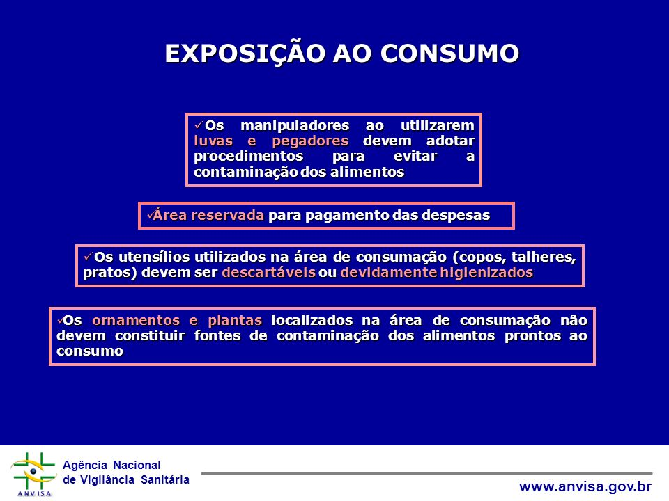 Agência Nacional de Vigilância Sanitária www.anvisa.gov.br EXPOSIÇÃO AO CONSUMO Os manipuladores ao utilizarem luvas e pegadores devem adotar procedim