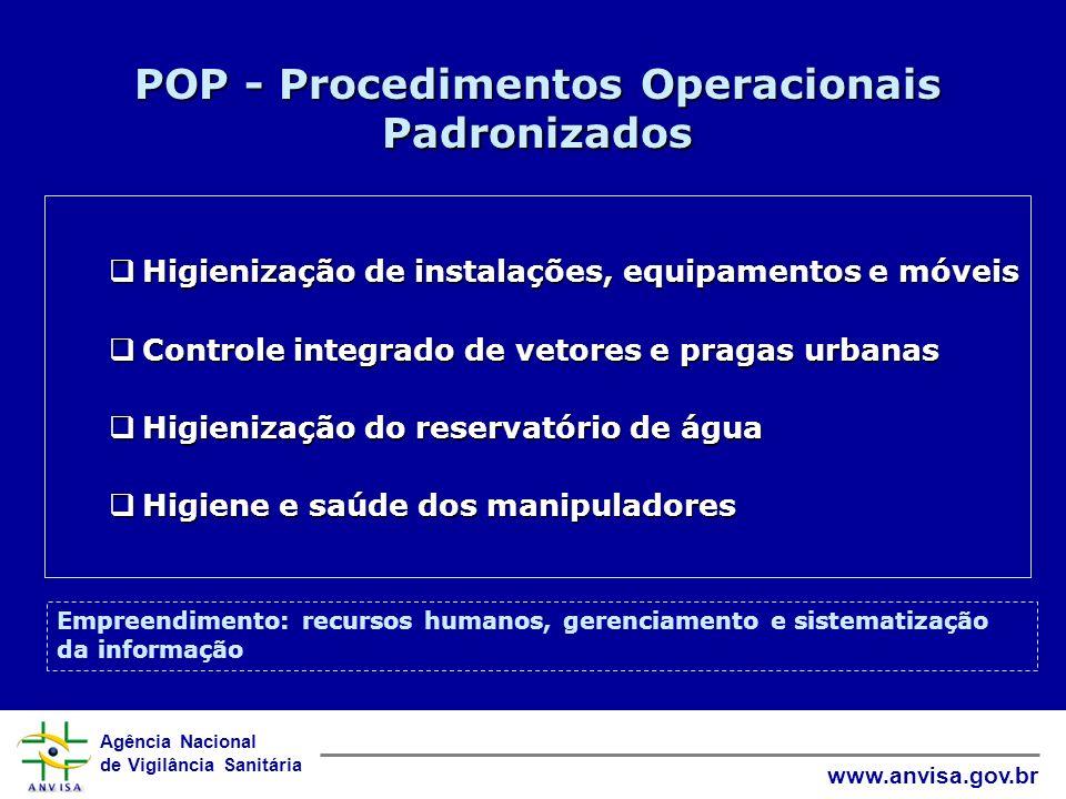 Agência Nacional de Vigilância Sanitária www.anvisa.gov.br POP - Procedimentos Operacionais Padronizados Higienização de instalações, equipamentos e m