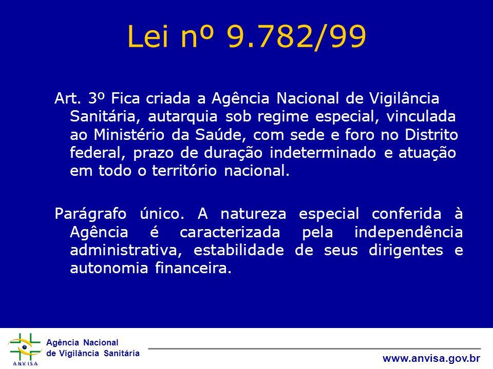 Agência Nacional de Vigilância Sanitária www.anvisa.gov.br Lei nº 9.782/99 Art. 3º Fica criada a Agência Nacional de Vigilância Sanitária, autarquia s