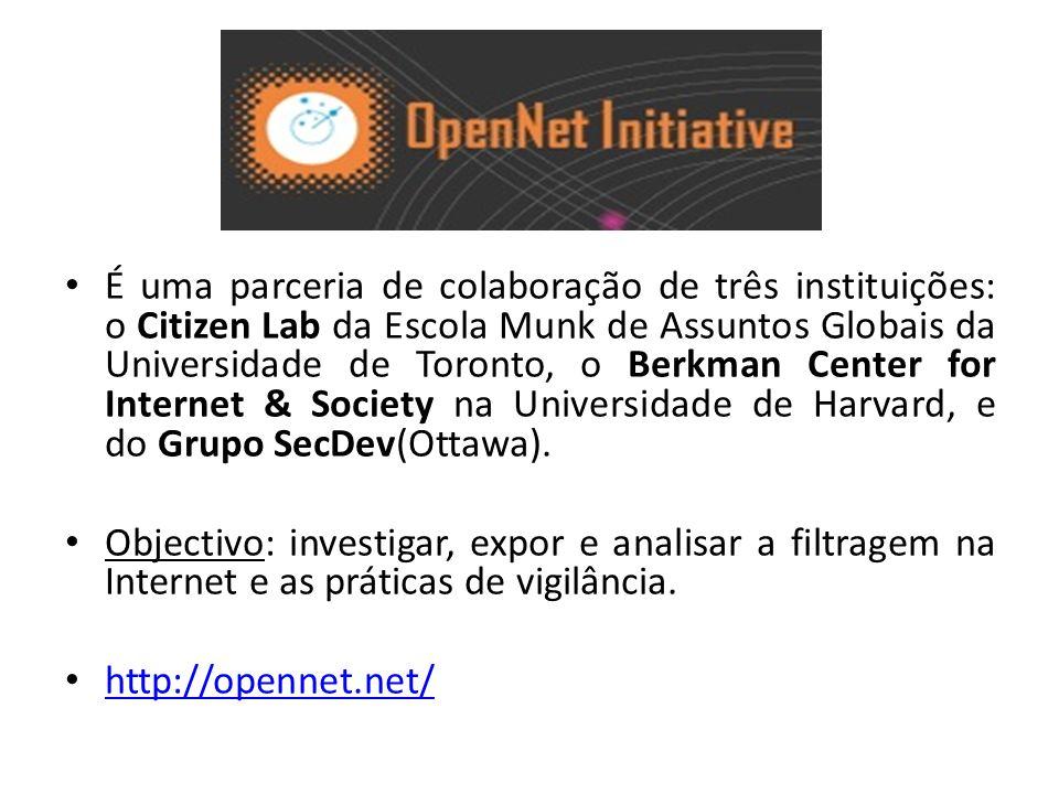 É uma parceria de colaboração de três instituições: o Citizen Lab da Escola Munk de Assuntos Globais da Universidade de Toronto, o Berkman Center for