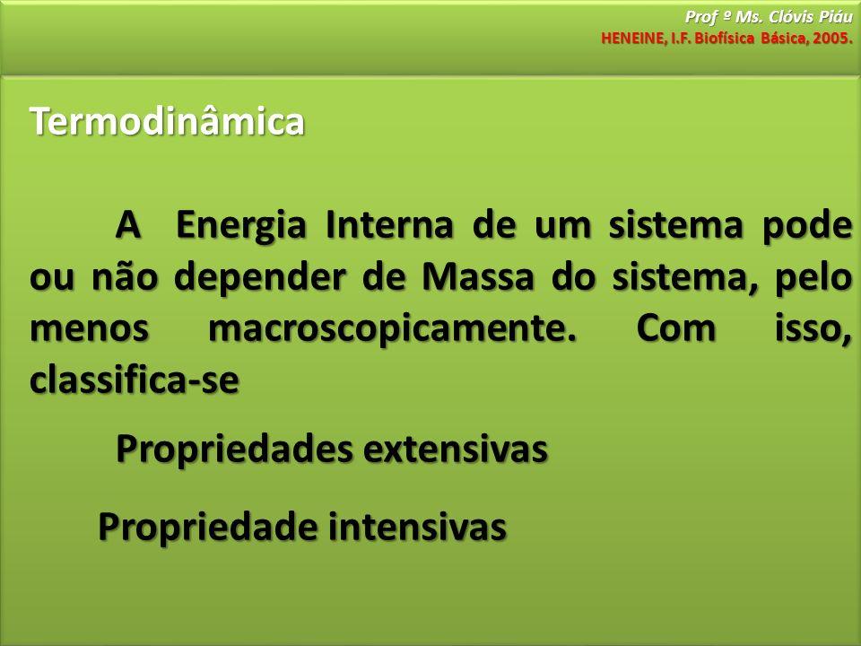 Prof º Ms. Clóvis Piáu HENEINE, I.F. Biofísica Básica, 2005. Termodinâmica A Energia Interna de um sistema pode ou não depender de Massa do sistema, p