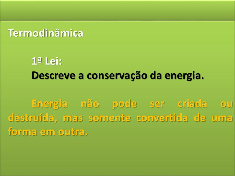 Termodinâmica 1ª Lei: Descreve a conservação da energia. Energia não pode ser criada ou destruída, mas somente convertida de uma forma em outra.