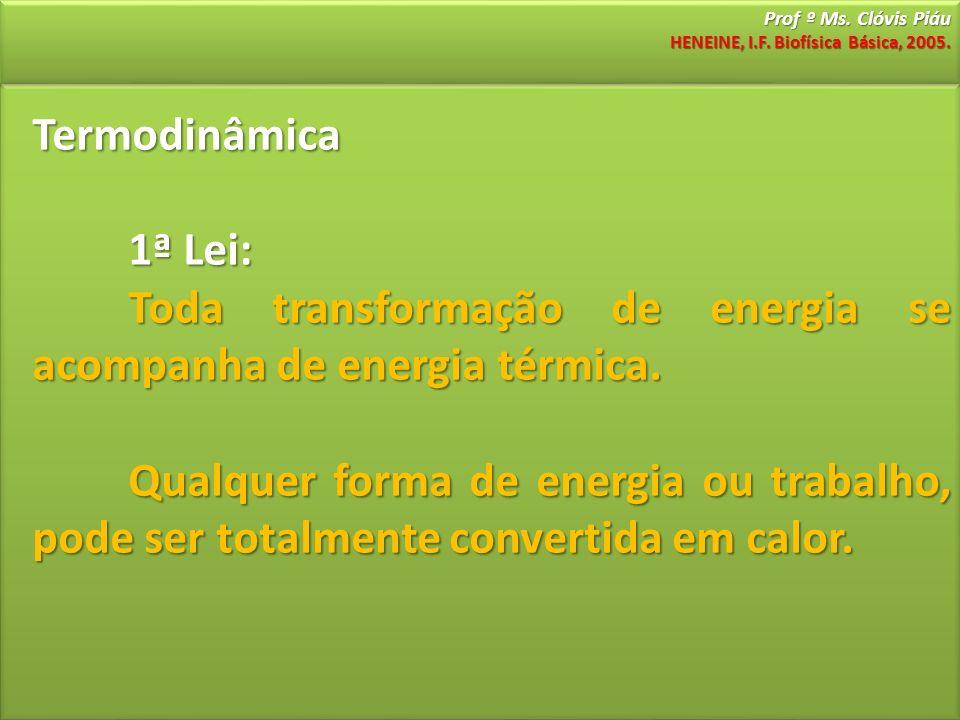 Prof º Ms. Clóvis Piáu HENEINE, I.F. Biofísica Básica, 2005. Termodinâmica 1ª Lei: Toda transformação de energia se acompanha de energia térmica. Qual