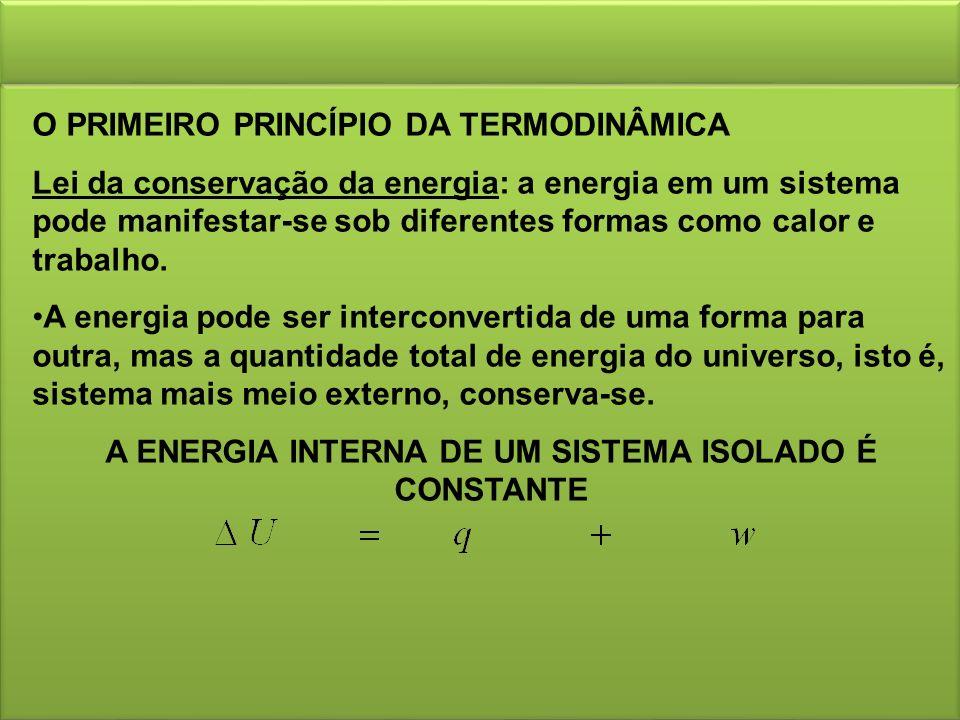O PRIMEIRO PRINCÍPIO DA TERMODINÂMICA Lei da conservação da energia: a energia em um sistema pode manifestar-se sob diferentes formas como calor e trabalho.