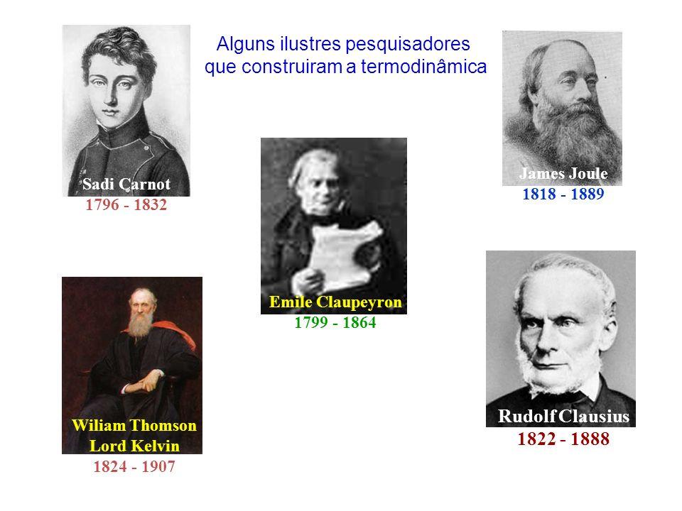 Sadi Carnot 1796 - 1832 James Joule 1818 - 1889 Rudolf Clausius 1822 - 1888 Wiliam Thomson Lord Kelvin 1824 - 1907 Emile Claupeyron 1799 - 1864 Alguns ilustres pesquisadores que construiram a termodinâmica