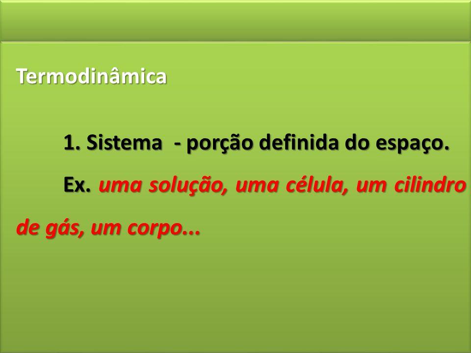 Termodinâmica 1. Sistema - porção definida do espaço. Ex. uma solução, uma célula, um cilindro de gás, um corpo...