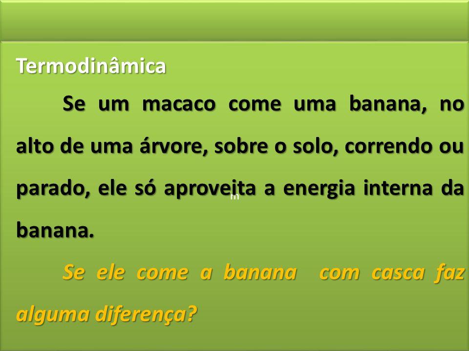 m m Termodinâmica Se um macaco come uma banana, no alto de uma árvore, sobre o solo, correndo ou parado, ele só aproveita a energia interna da banana.