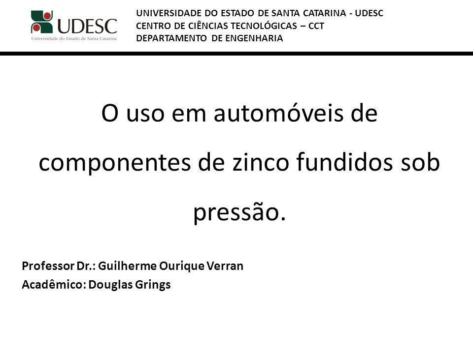 O uso em automóveis de componentes de zinco fundidos sob pressão. Professor Dr.: Guilherme Ourique Verran Acadêmico: Douglas Grings UNIVERSIDADE DO ES