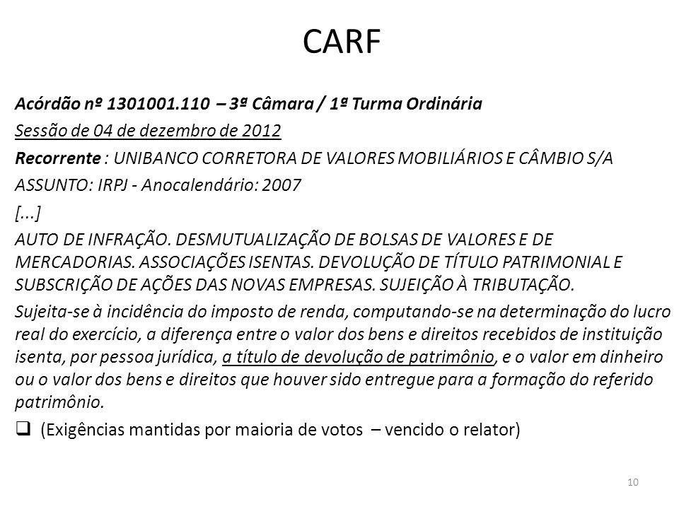 CARF Acórdão nº 1301001.110 – 3ª Câmara / 1ª Turma Ordinária Sessão de 04 de dezembro de 2012 Recorrente : UNIBANCO CORRETORA DE VALORES MOBILIÁRIOS E