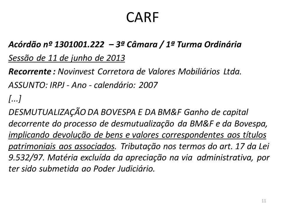 CARF Acórdão nº 1301001.222 – 3ª Câmara / 1ª Turma Ordinária Sessão de 11 de junho de 2013 Recorrente : Novinvest Corretora de Valores Mobiliários Ltd