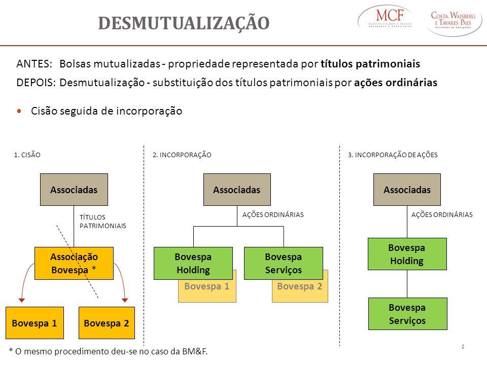 DESMUTUALIZAÇÃO ANTES: Bolsas mutualizadas - propriedade representada por títulos patrimoniais DEPOIS:Desmutualização - substituição dos títulos patri