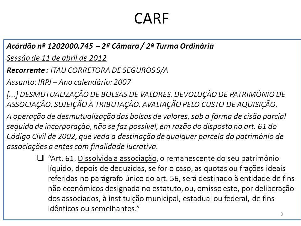 CARF Acórdão nº 1202000.745 – 2ª Câmara / 2ª Turma Ordinária Sessão de 11 de abril de 2012 Recorrente : ITAU CORRETORA DE SEGUROS S/A Assunto: IRPJ –