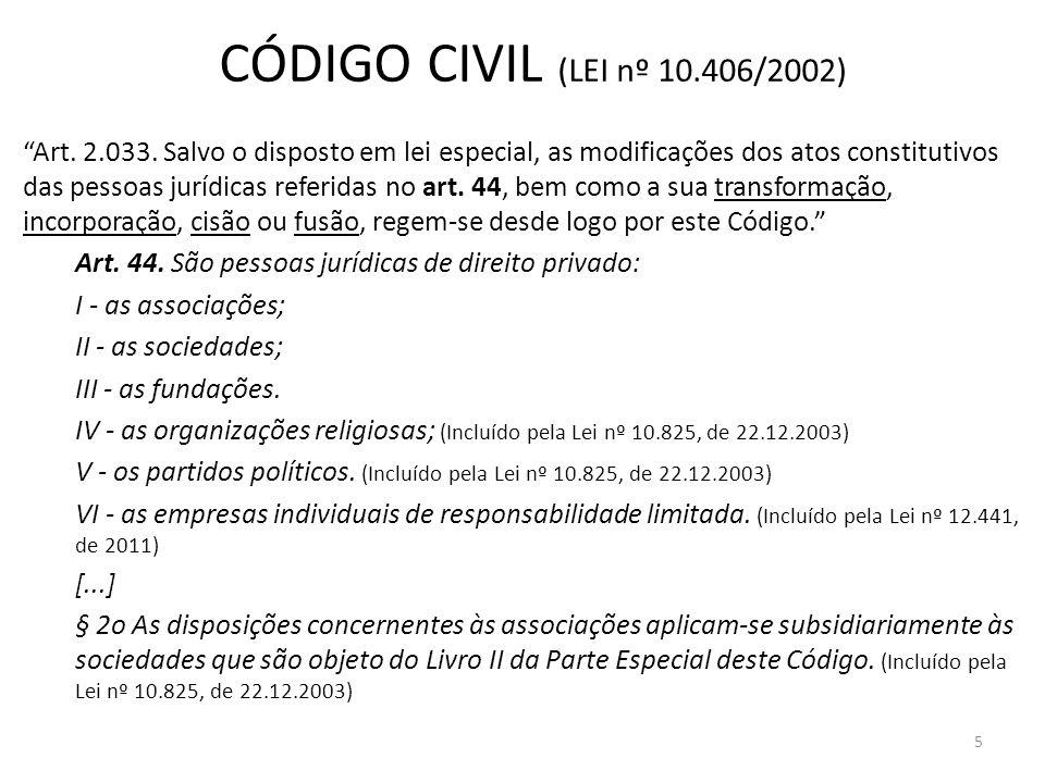 CÓDIGO CIVIL (LEI nº 10.406/2002) Art. 2.033. Salvo o disposto em lei especial, as modificações dos atos constitutivos das pessoas jurídicas referidas