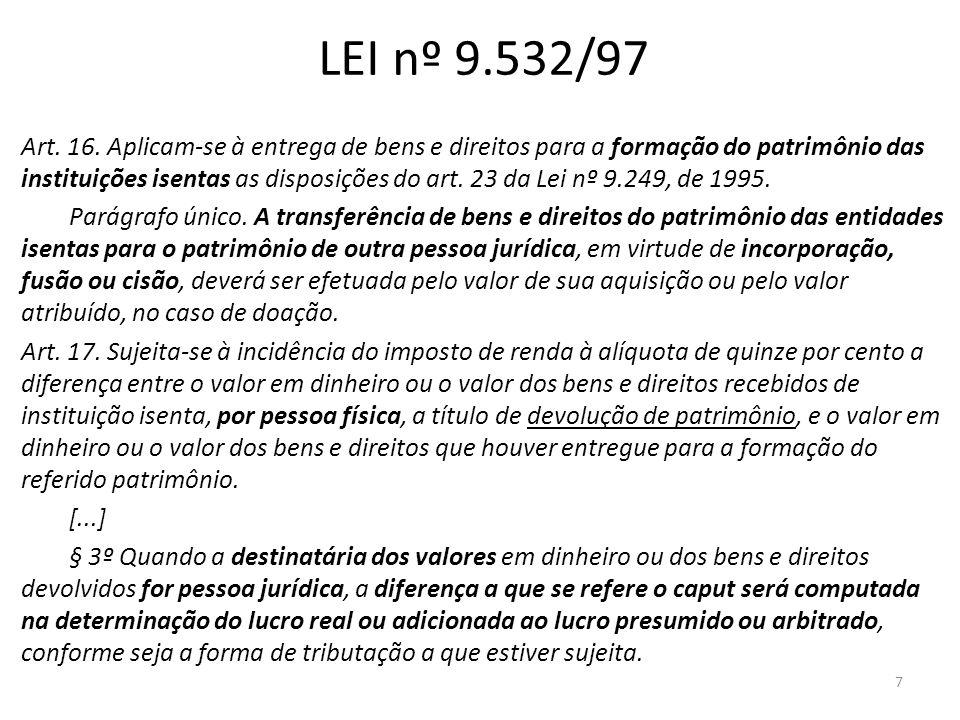 LEI nº 9.532/97 Art. 16. Aplicam-se à entrega de bens e direitos para a formação do patrimônio das instituições isentas as disposições do art. 23 da L