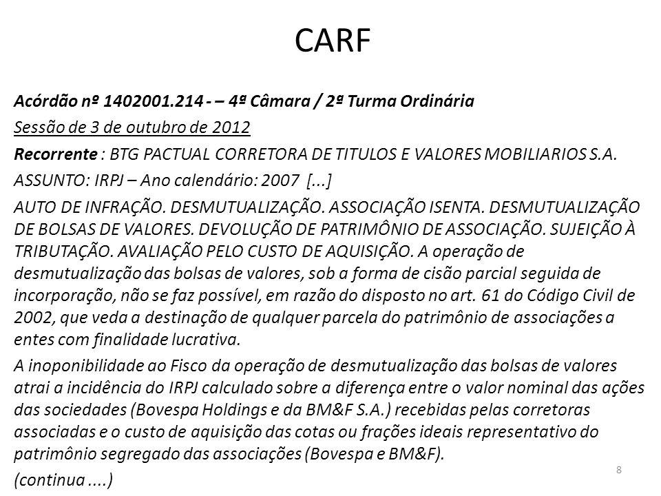 CARF Acórdão nº 1402001.214 - – 4ª Câmara / 2ª Turma Ordinária Sessão de 3 de outubro de 2012 Recorrente : BTG PACTUAL CORRETORA DE TITULOS E VALORES