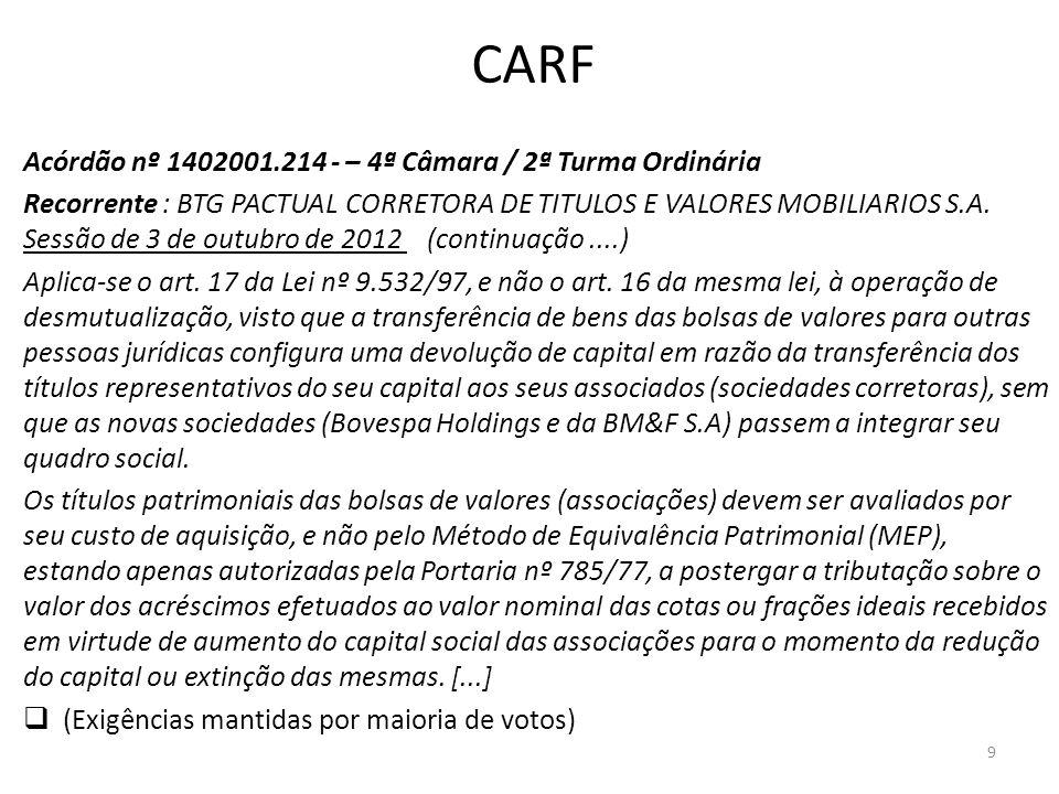 CARF Acórdão nº 1402001.214 - – 4ª Câmara / 2ª Turma Ordinária Recorrente : BTG PACTUAL CORRETORA DE TITULOS E VALORES MOBILIARIOS S.A. Sessão de 3 de