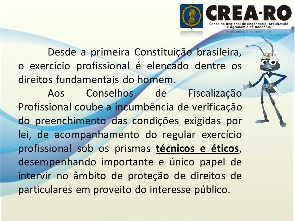 Desde a primeira Constituição brasileira, o exercício profissional é elencado dentre os direitos fundamentais do homem. Aos Conselhos de Fiscalização