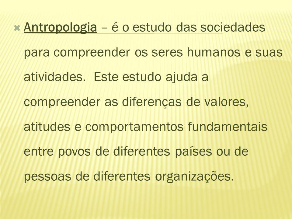 Antropologia – é o estudo das sociedades para compreender os seres humanos e suas atividades. Este estudo ajuda a compreender as diferenças de valores