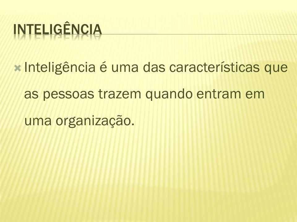 Inteligência é uma das características que as pessoas trazem quando entram em uma organização.