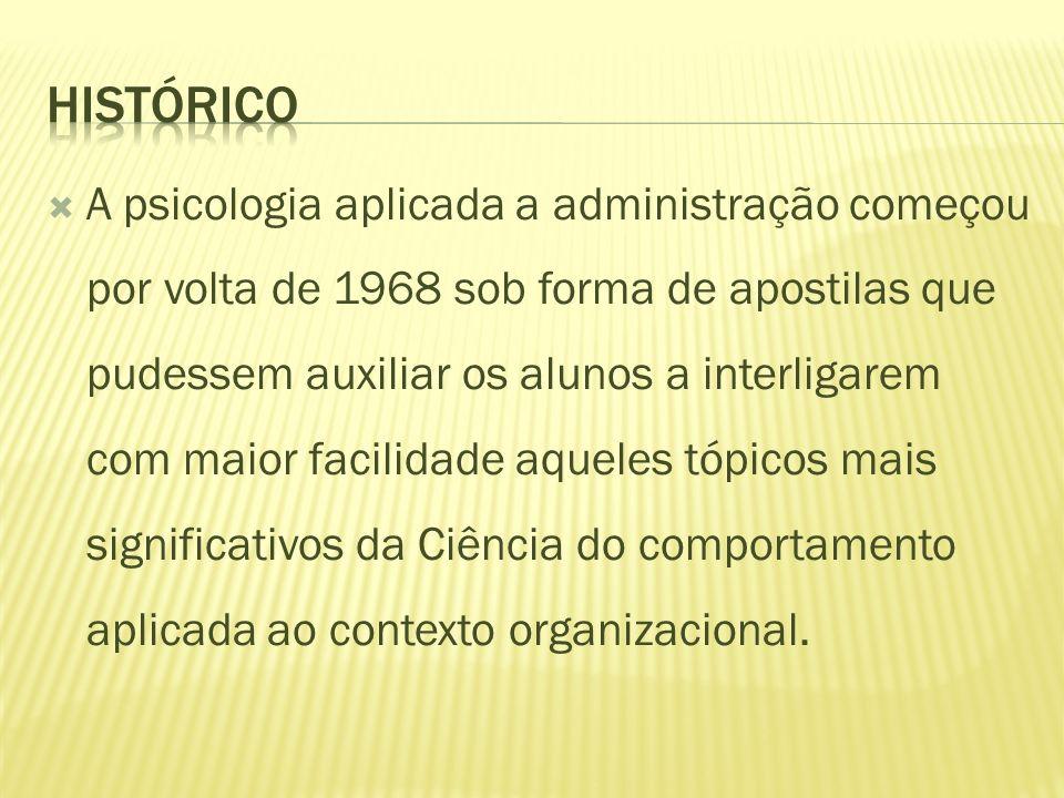 A psicologia aplicada a administração começou por volta de 1968 sob forma de apostilas que pudessem auxiliar os alunos a interligarem com maior facili